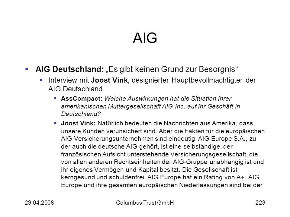 """AIG AIG Deutschland: """"Es gibt keinen Grund zur Besorgnis"""
