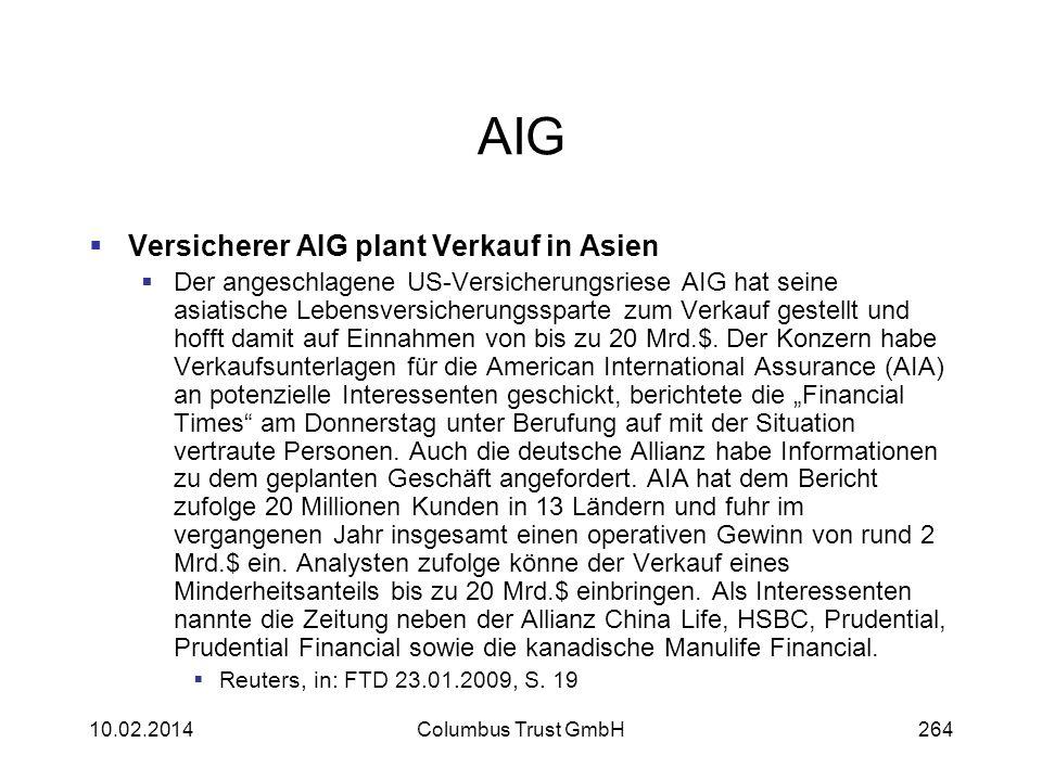 AIG Versicherer AIG plant Verkauf in Asien