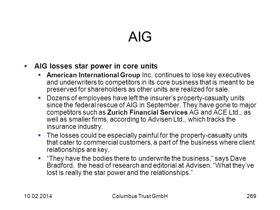 AIG AIG losses star power in core units