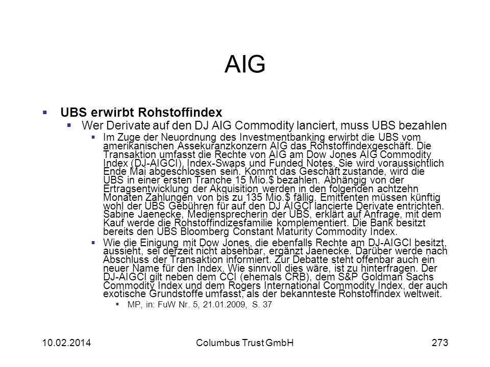 AIG UBS erwirbt Rohstoffindex