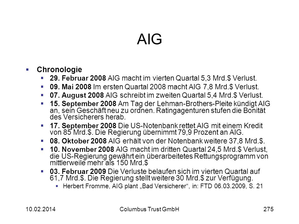 AIG Chronologie. 29. Februar 2008 AIG macht im vierten Quartal 5,3 Mrd.$ Verlust. 09. Mai 2008 Im ersten Quartal 2008 macht AIG 7,8 Mrd.$ Verlust.