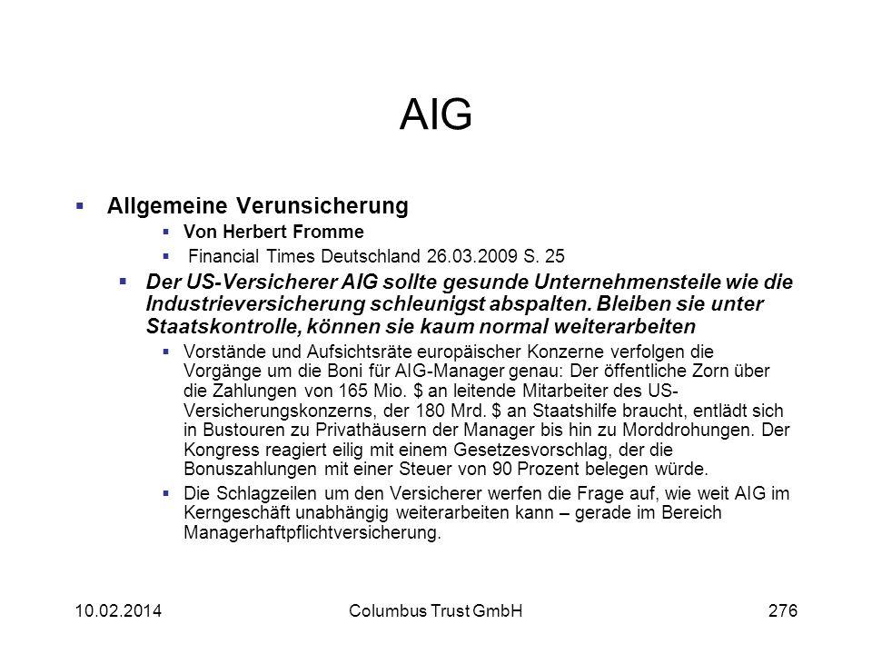 AIG Allgemeine Verunsicherung