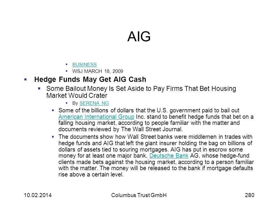 AIG Hedge Funds May Get AIG Cash