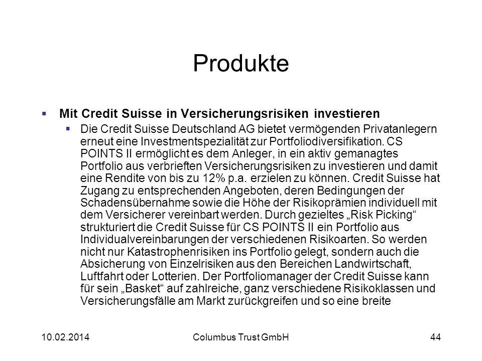 Produkte Mit Credit Suisse in Versicherungsrisiken investieren