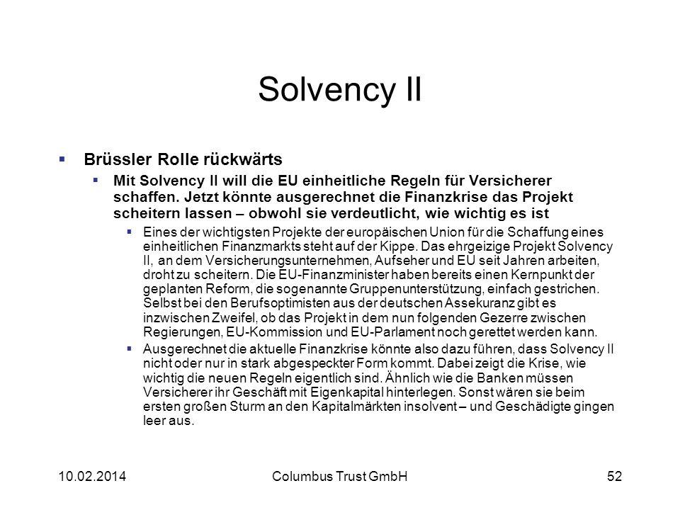 Solvency II Brüssler Rolle rückwärts