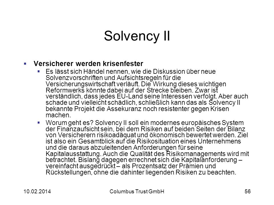 Solvency II Versicherer werden krisenfester
