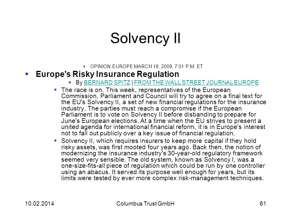 Solvency II Europe s Risky Insurance Regulation