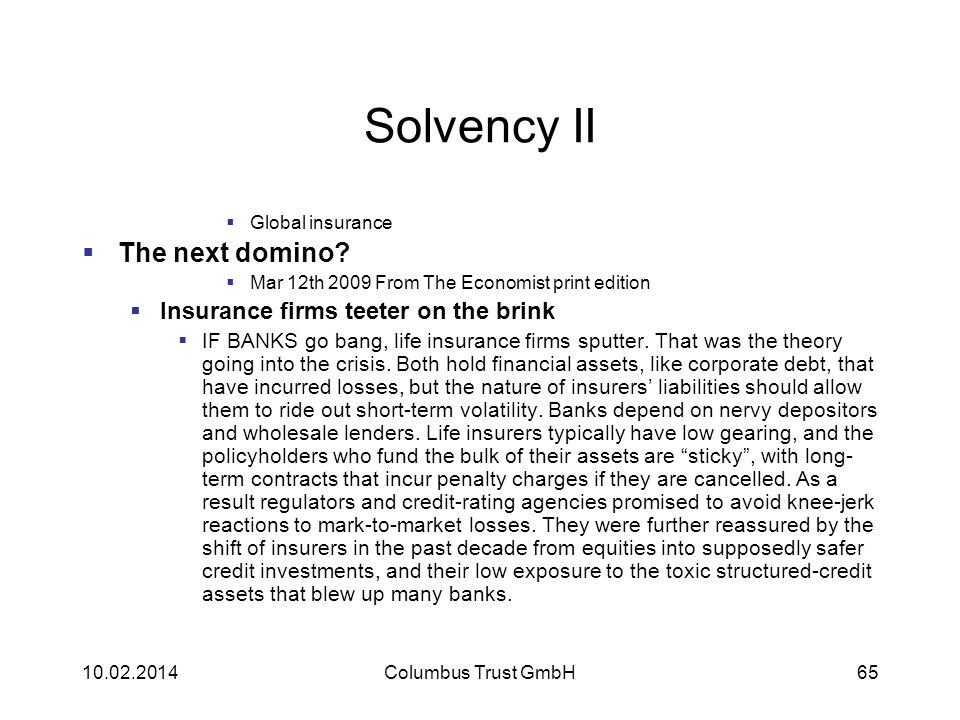 Solvency II The next domino Insurance firms teeter on the brink