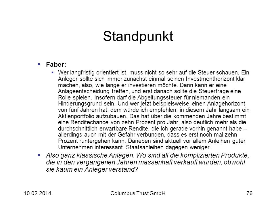 Standpunkt Faber: