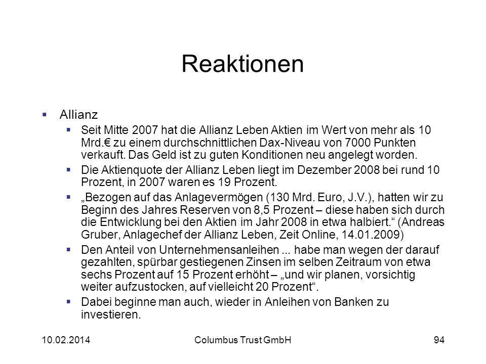 Reaktionen Allianz.