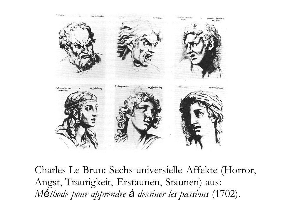 Charles Le Brun: Sechs universielle Affekte (Horror, Angst, Traurigkeit, Erstaunen, Staunen) aus: Méthode pour apprendre à dessiner les passions (1702).