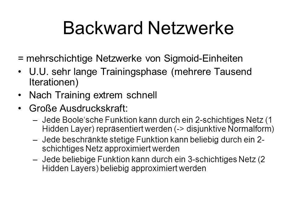 Backward Netzwerke = mehrschichtige Netzwerke von Sigmoid-Einheiten