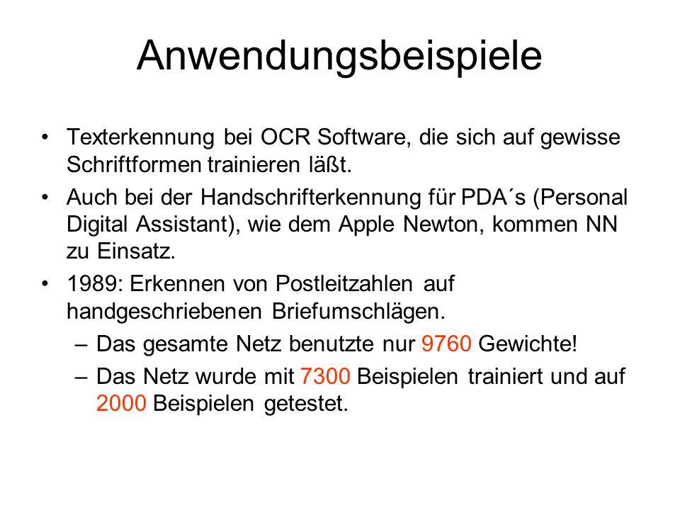 Anwendungsbeispiele Texterkennung bei OCR Software, die sich auf gewisse Schriftformen trainieren läßt.