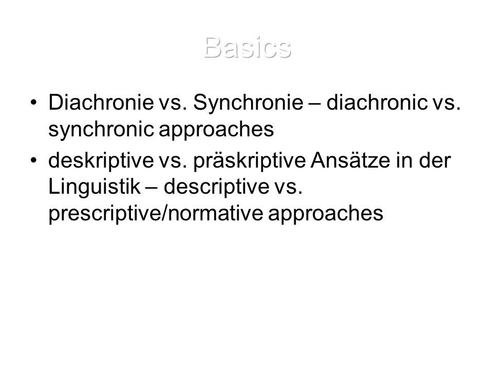 Basics Diachronie vs. Synchronie – diachronic vs. synchronic approaches.