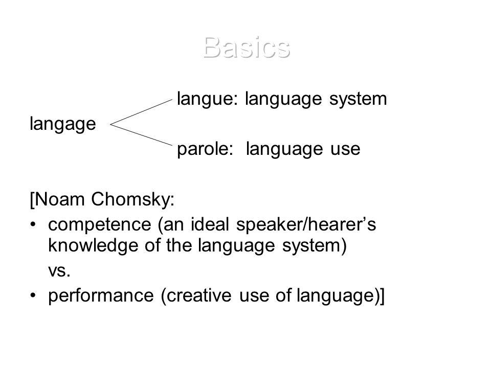 Basics langue: language system langage parole: language use