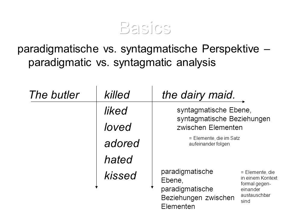 Basics paradigmatische vs. syntagmatische Perspektive – paradigmatic vs. syntagmatic analysis. The butler killed the dairy maid.