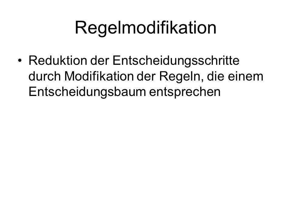 Regelmodifikation Reduktion der Entscheidungsschritte durch Modifikation der Regeln, die einem Entscheidungsbaum entsprechen.