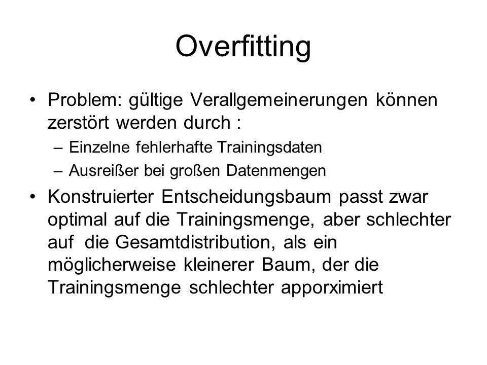 Overfitting Problem: gültige Verallgemeinerungen können zerstört werden durch : Einzelne fehlerhafte Trainingsdaten.
