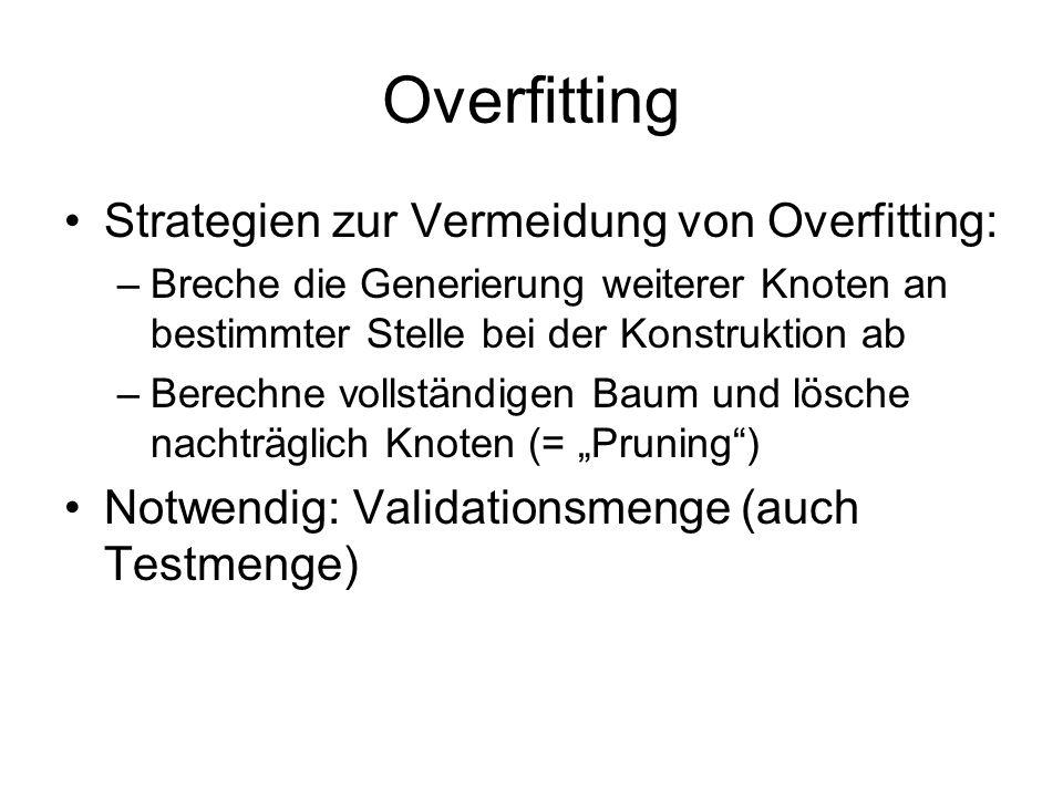 Overfitting Strategien zur Vermeidung von Overfitting: