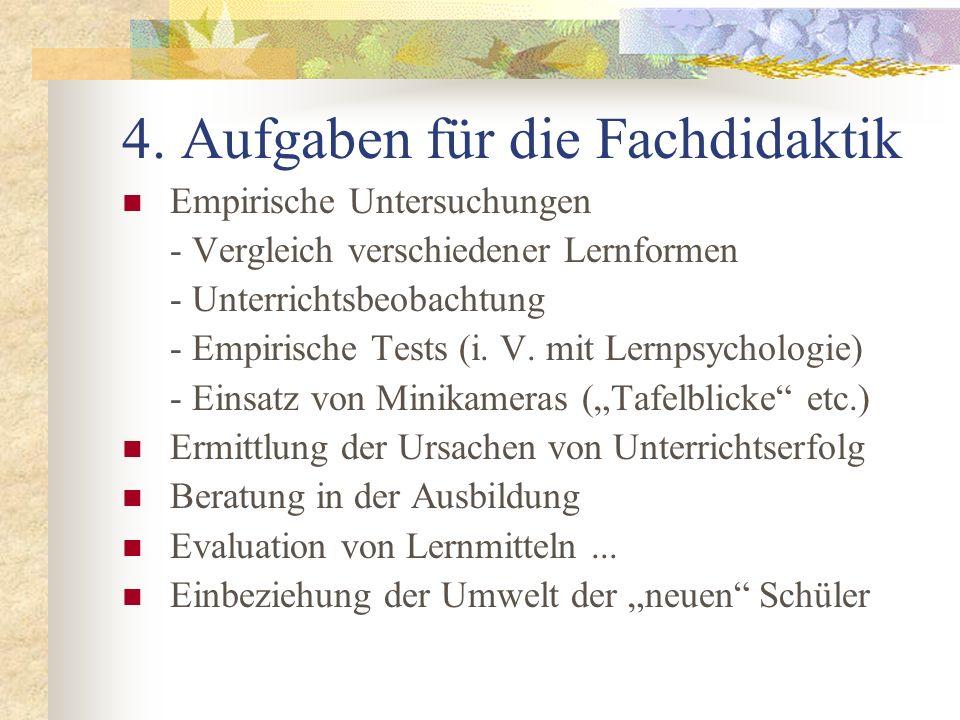 4. Aufgaben für die Fachdidaktik