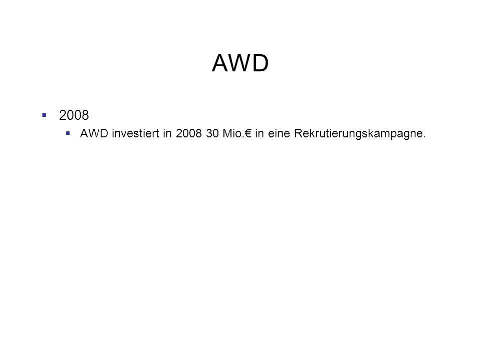 AWD 2008 AWD investiert in 2008 30 Mio.€ in eine Rekrutierungskampagne.