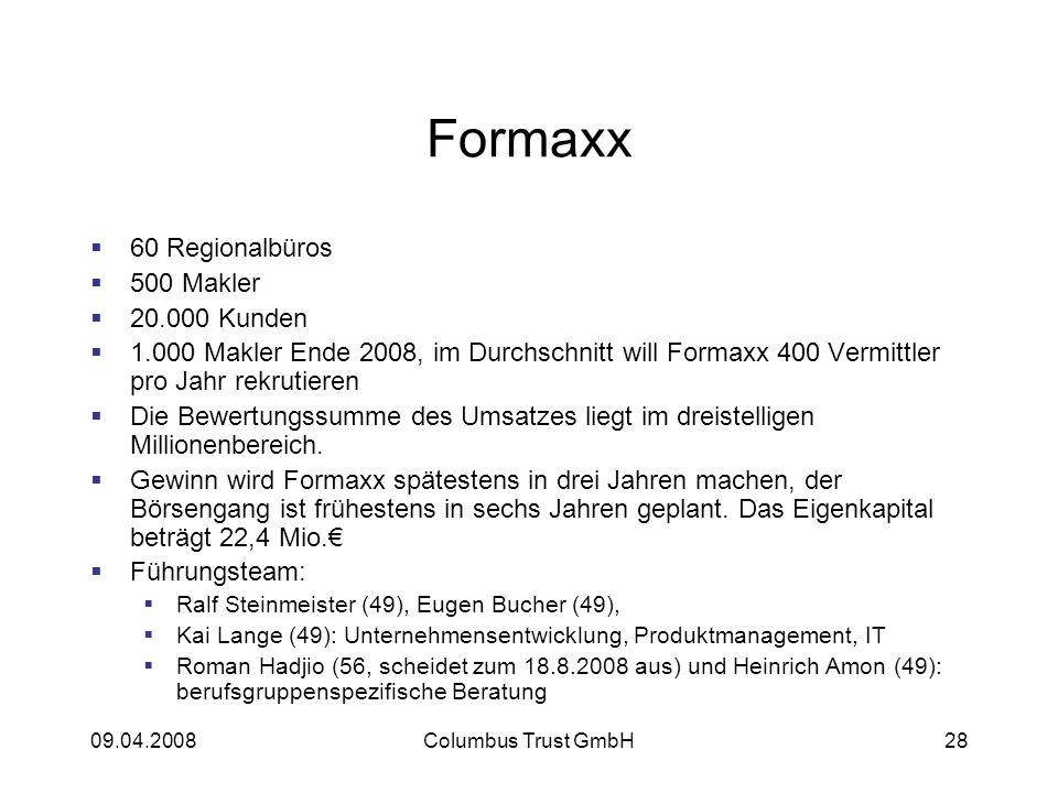 Formaxx 60 Regionalbüros 500 Makler 20.000 Kunden