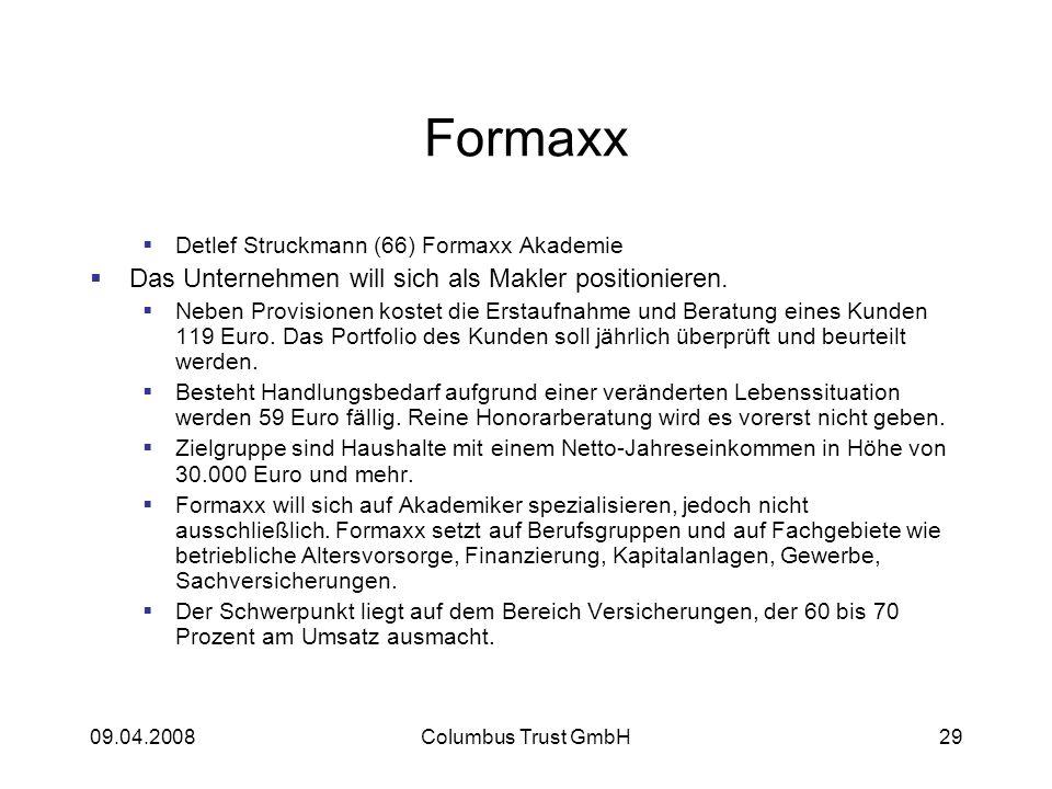 Formaxx Das Unternehmen will sich als Makler positionieren.