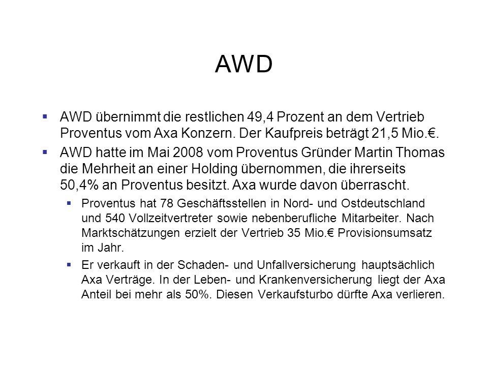 AWD AWD übernimmt die restlichen 49,4 Prozent an dem Vertrieb Proventus vom Axa Konzern. Der Kaufpreis beträgt 21,5 Mio.€.