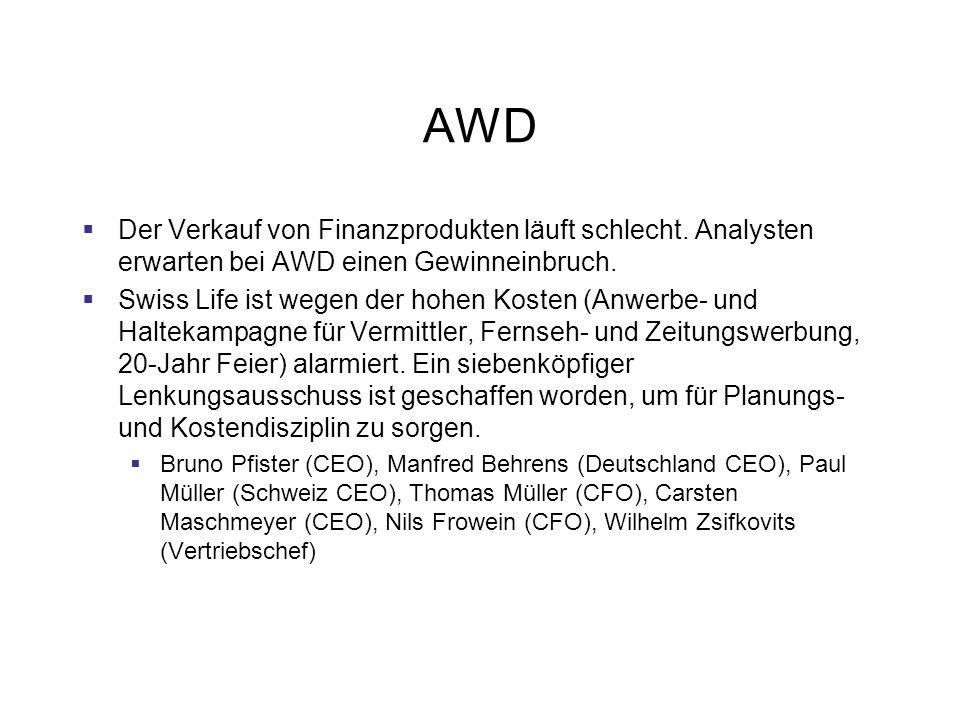 AWD Der Verkauf von Finanzprodukten läuft schlecht. Analysten erwarten bei AWD einen Gewinneinbruch.