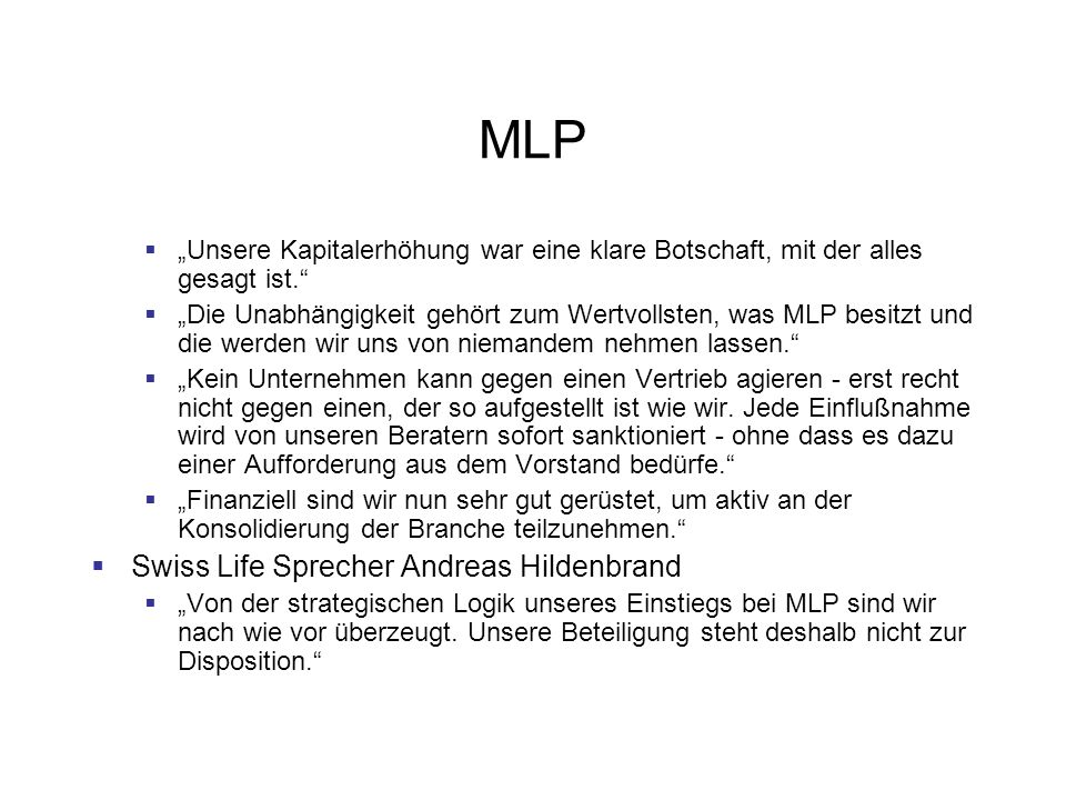 MLP Swiss Life Sprecher Andreas Hildenbrand