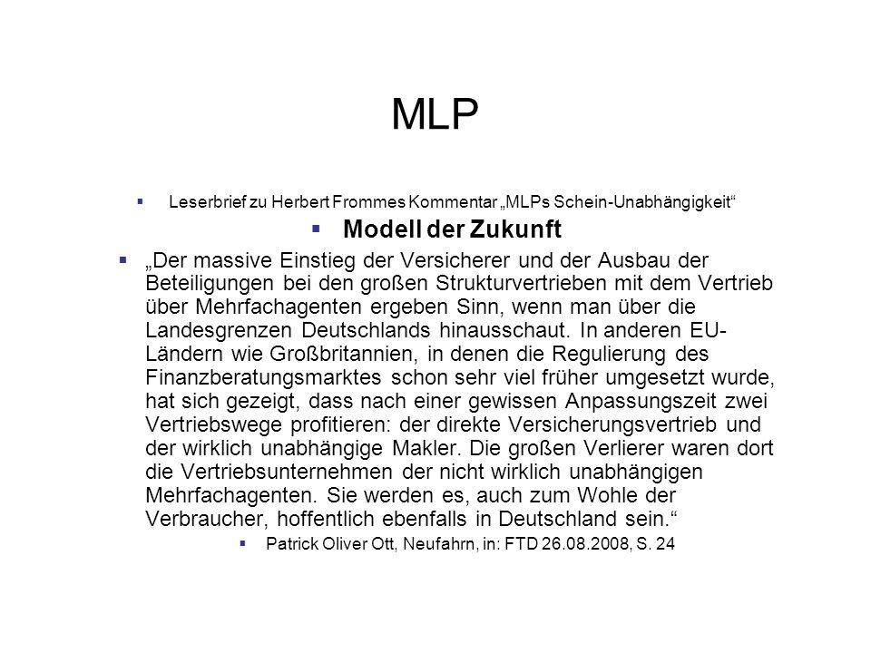"""MLP Leserbrief zu Herbert Frommes Kommentar """"MLPs Schein-Unabhängigkeit Modell der Zukunft."""