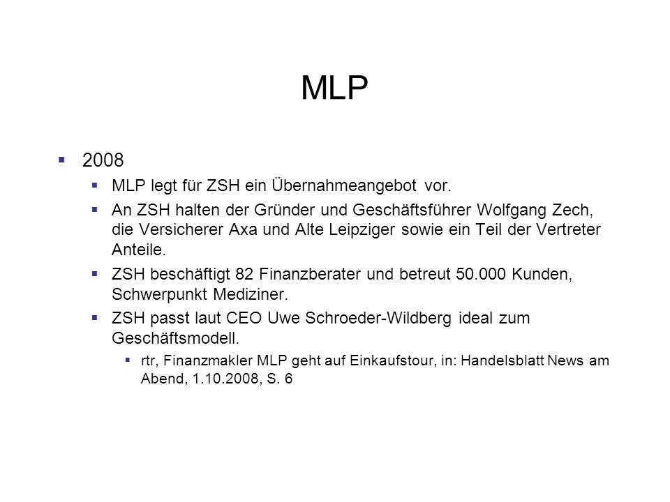 MLP 2008 MLP legt für ZSH ein Übernahmeangebot vor.