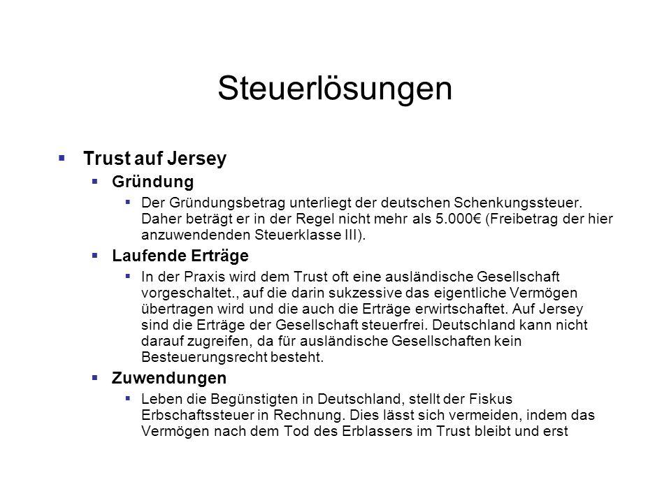 Steuerlösungen Trust auf Jersey Gründung Laufende Erträge Zuwendungen