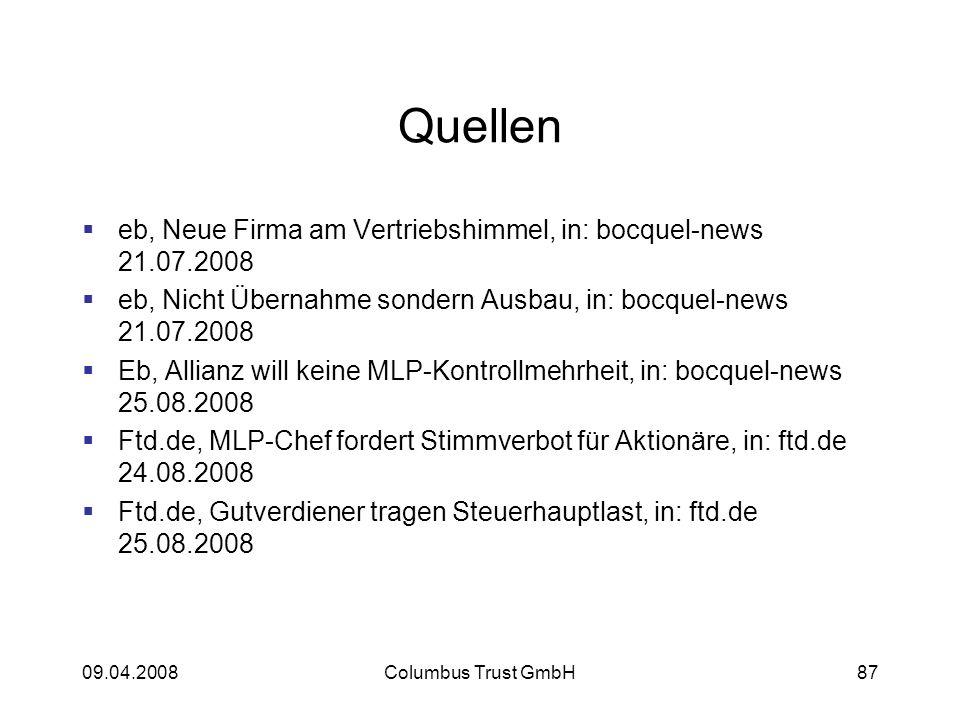 Quellen eb, Neue Firma am Vertriebshimmel, in: bocquel-news 21.07.2008