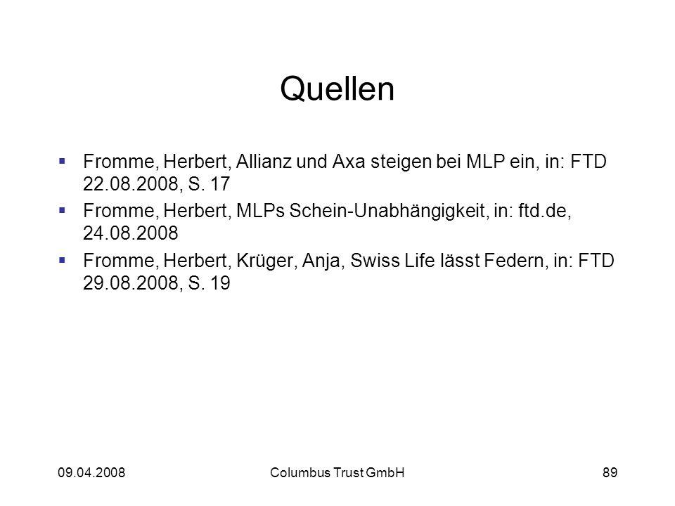 Quellen Fromme, Herbert, Allianz und Axa steigen bei MLP ein, in: FTD 22.08.2008, S. 17.