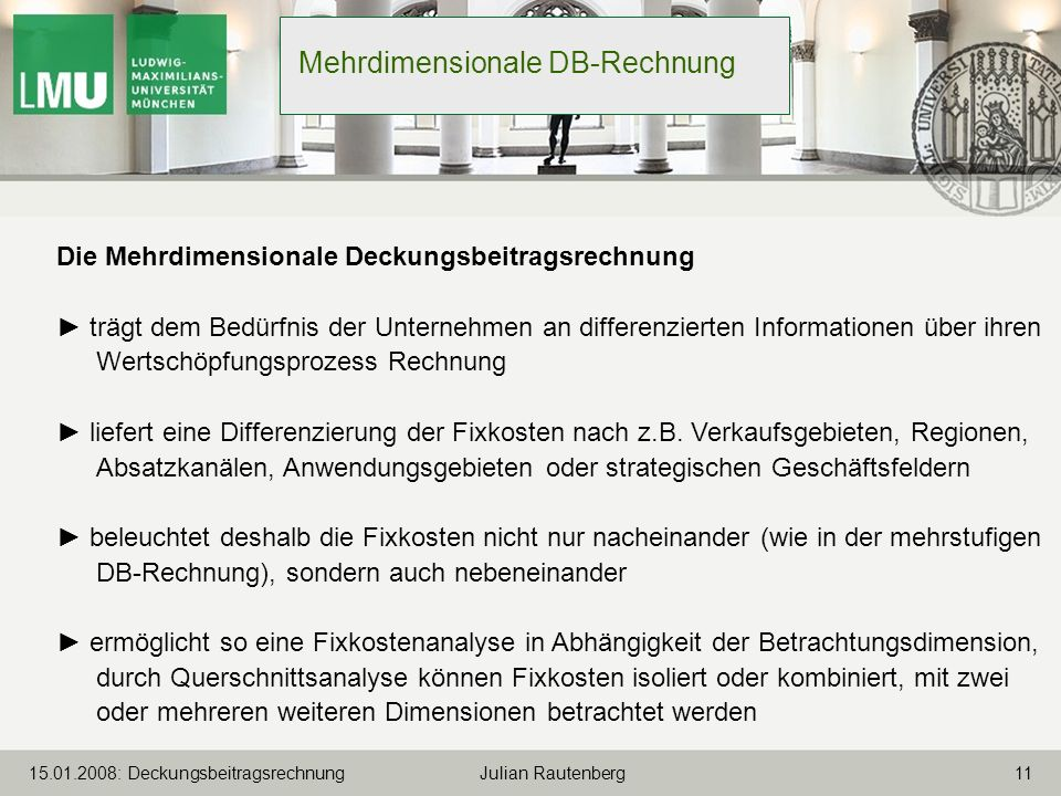 Mehrdimensionale DB-Rechnung