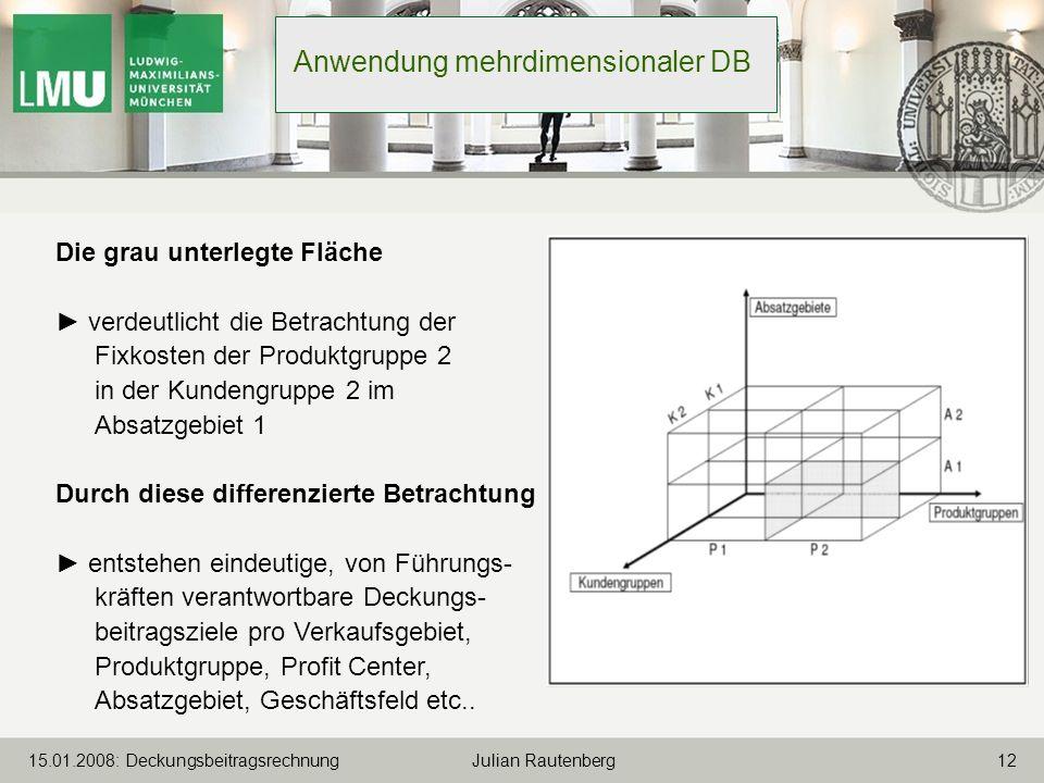 Anwendung mehrdimensionaler DB