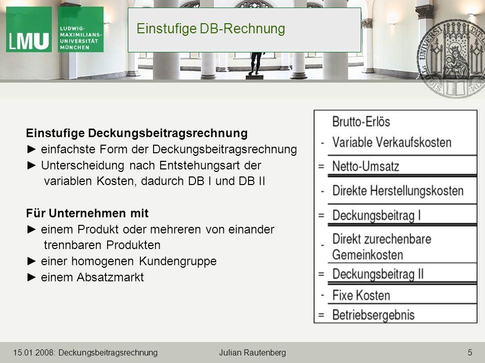 Einstufige DB-Rechnung
