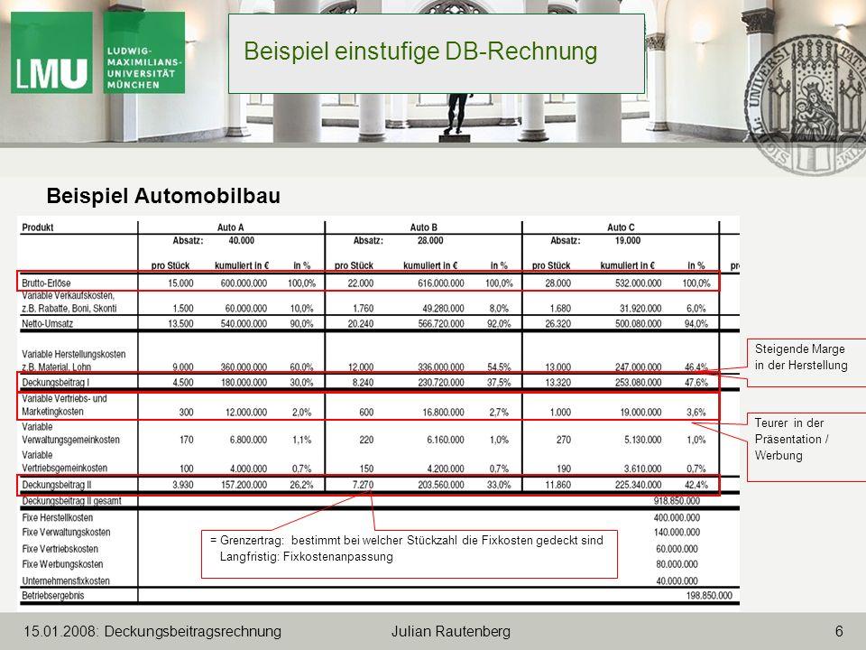Beispiel einstufige DB-Rechnung