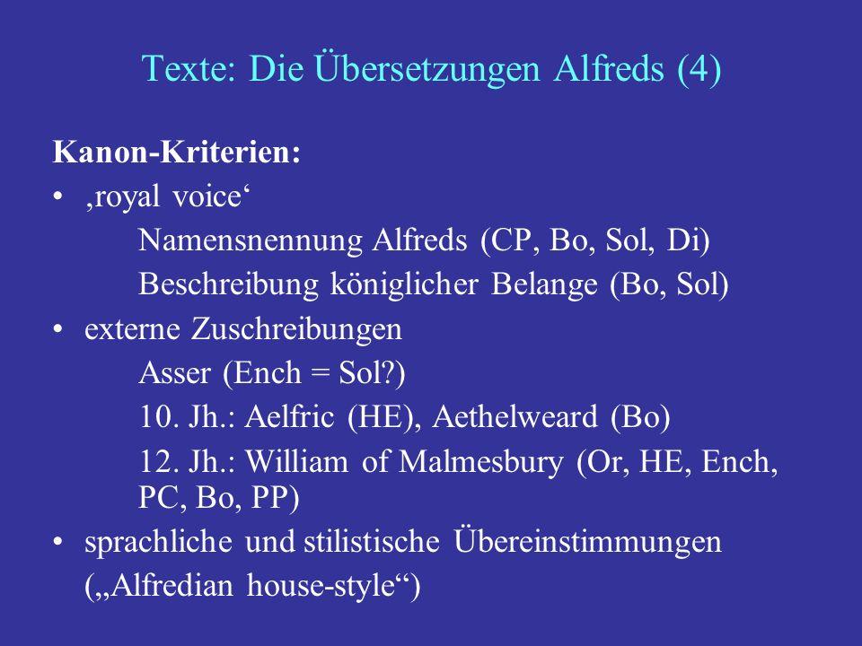 Texte: Die Übersetzungen Alfreds (4)