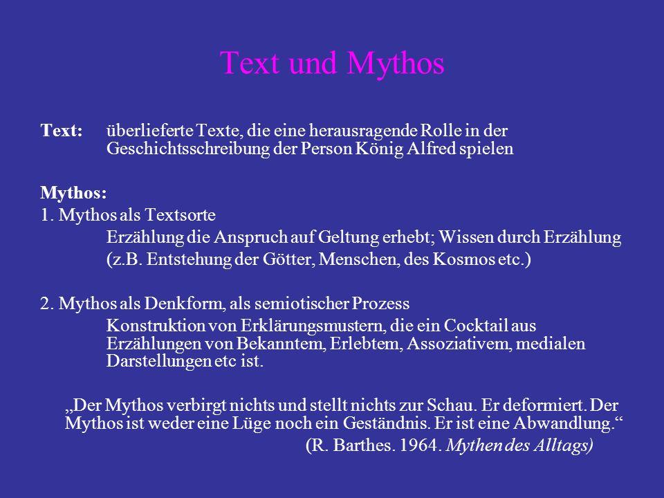 Text und Mythos Text: überlieferte Texte, die eine herausragende Rolle in der Geschichtsschreibung der Person König Alfred spielen.