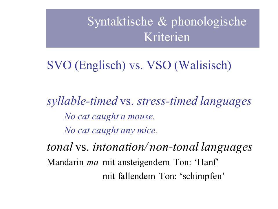 Syntaktische & phonologische Kriterien