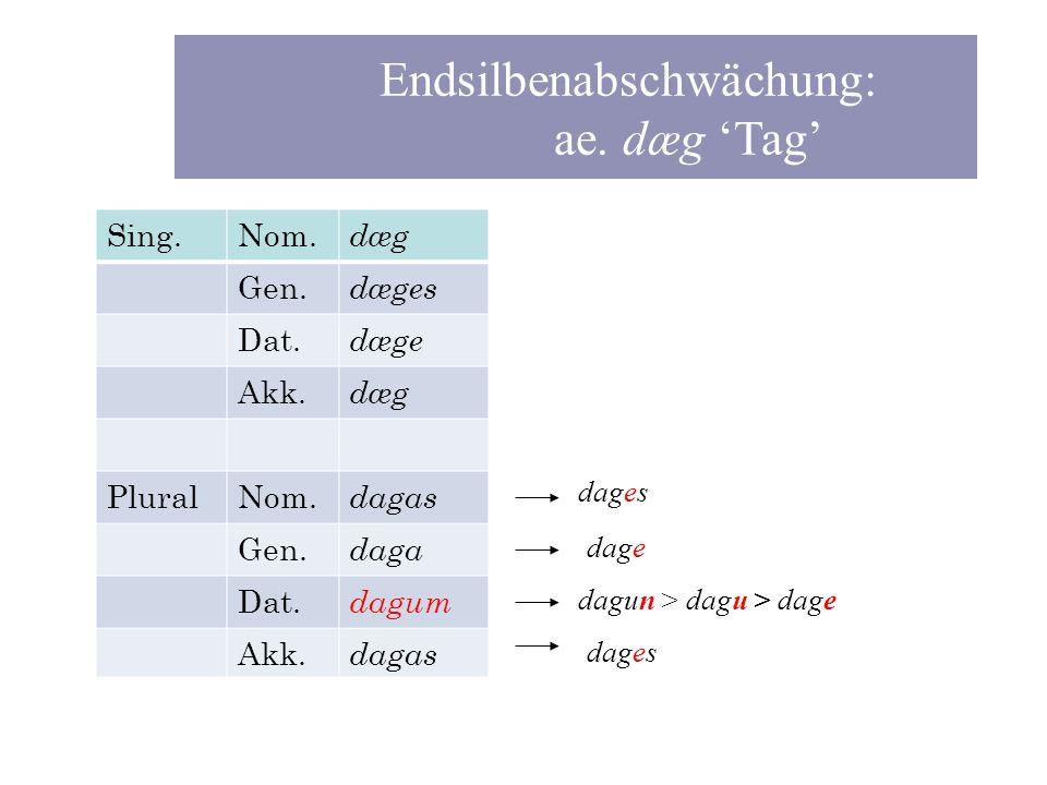Endsilbenabschwächung: ae. dæg 'Tag'