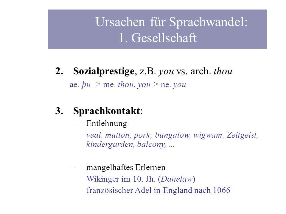 Ursachen für Sprachwandel: 1. Gesellschaft