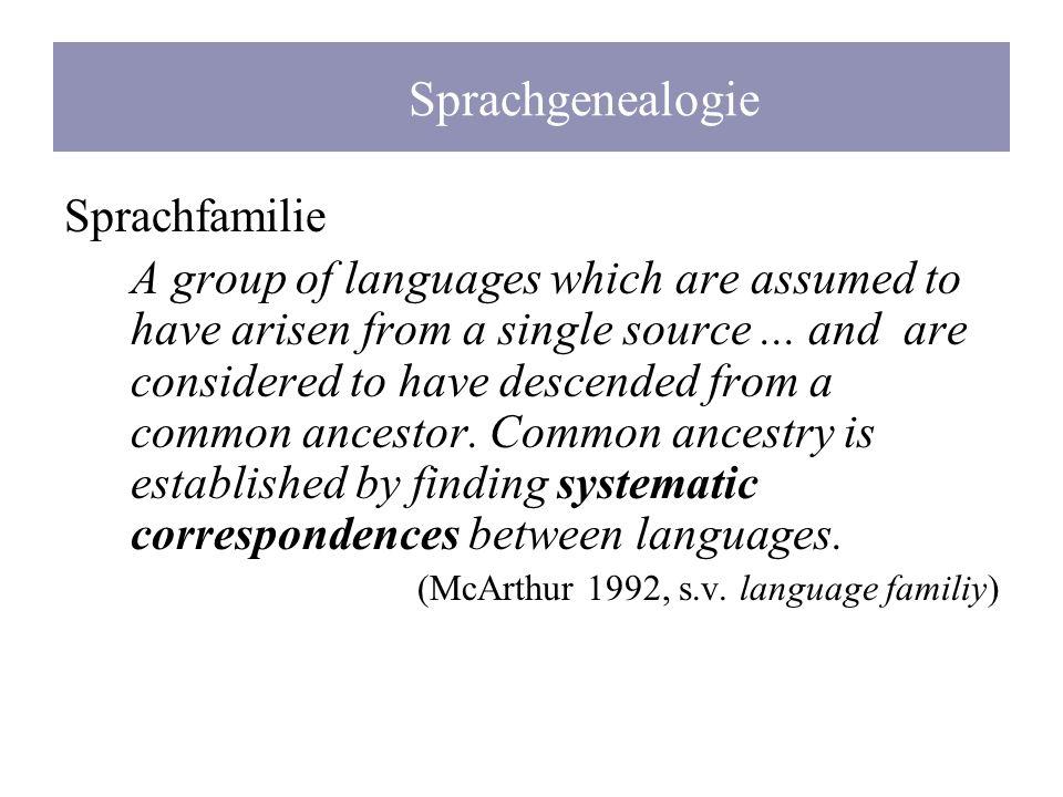 Sprachgenealogie Sprachfamilie
