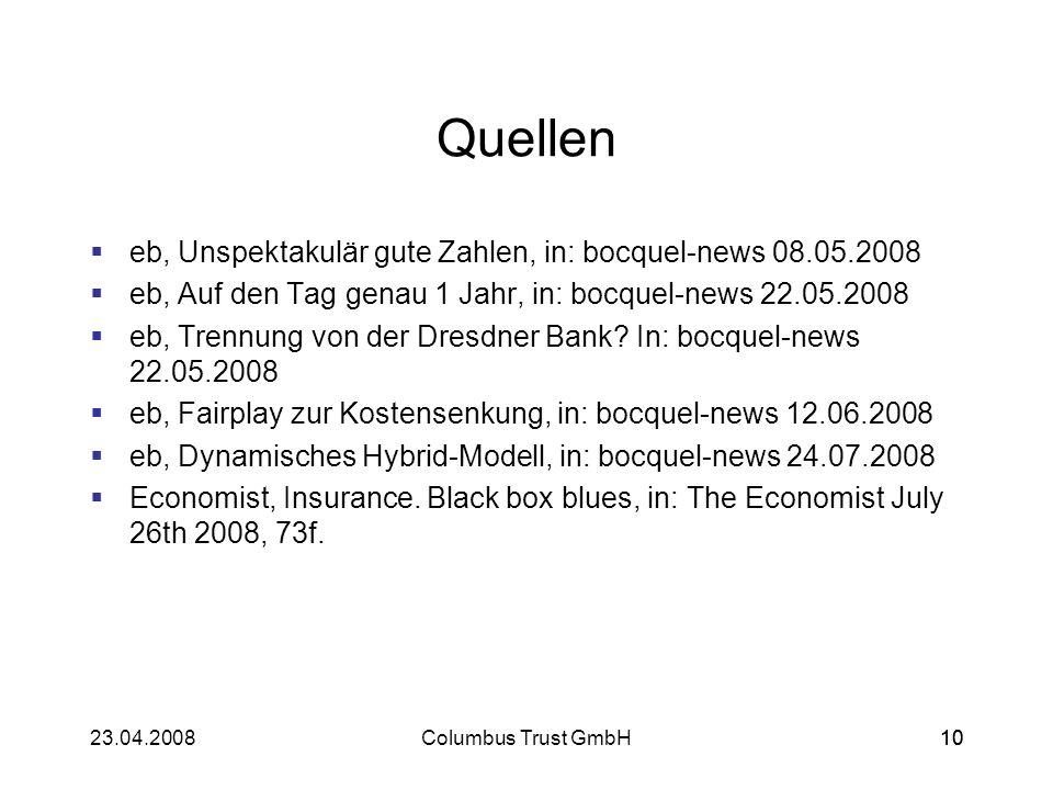 Quellen eb, Unspektakulär gute Zahlen, in: bocquel-news 08.05.2008