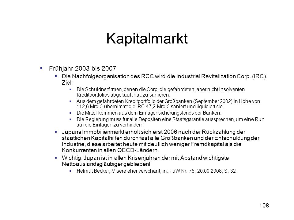 Kapitalmarkt Frühjahr 2003 bis 2007