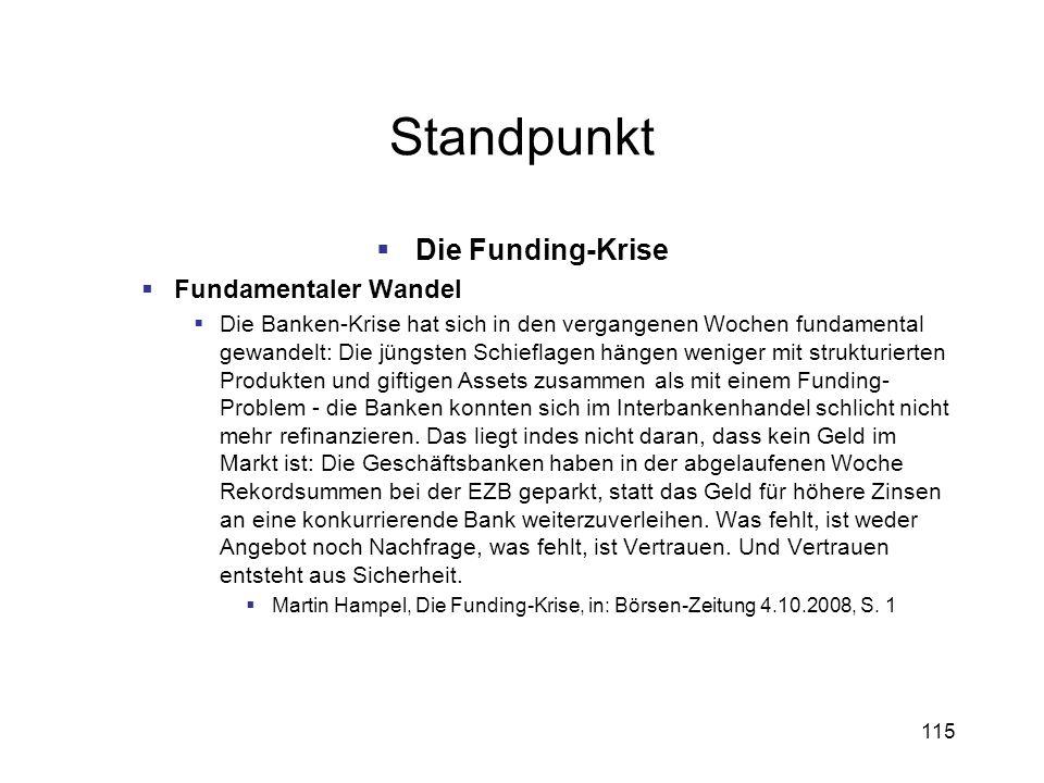 Standpunkt Die Funding-Krise Fundamentaler Wandel