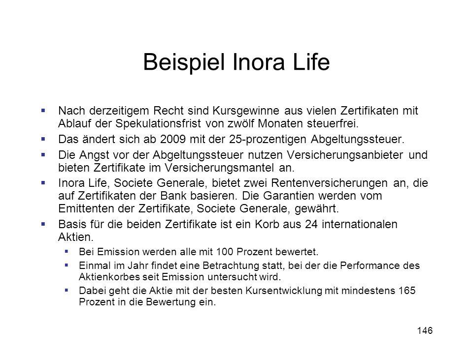 Beispiel Inora Life Nach derzeitigem Recht sind Kursgewinne aus vielen Zertifikaten mit Ablauf der Spekulationsfrist von zwölf Monaten steuerfrei.