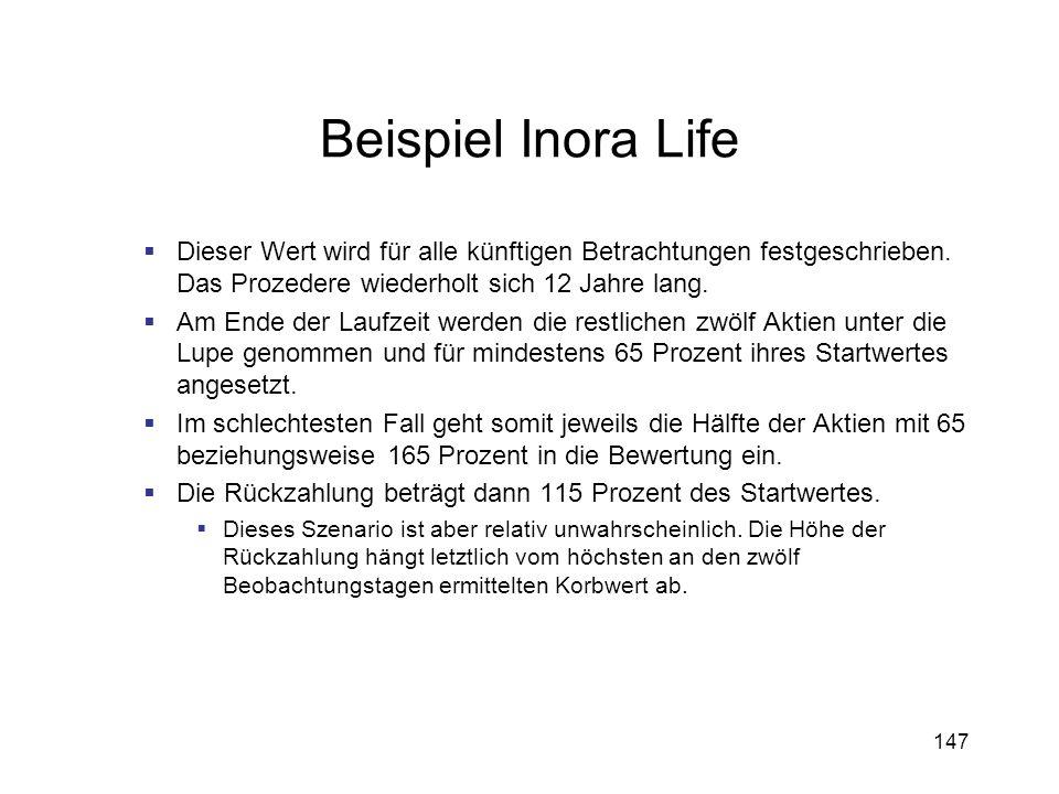 Beispiel Inora LifeDieser Wert wird für alle künftigen Betrachtungen festgeschrieben. Das Prozedere wiederholt sich 12 Jahre lang.
